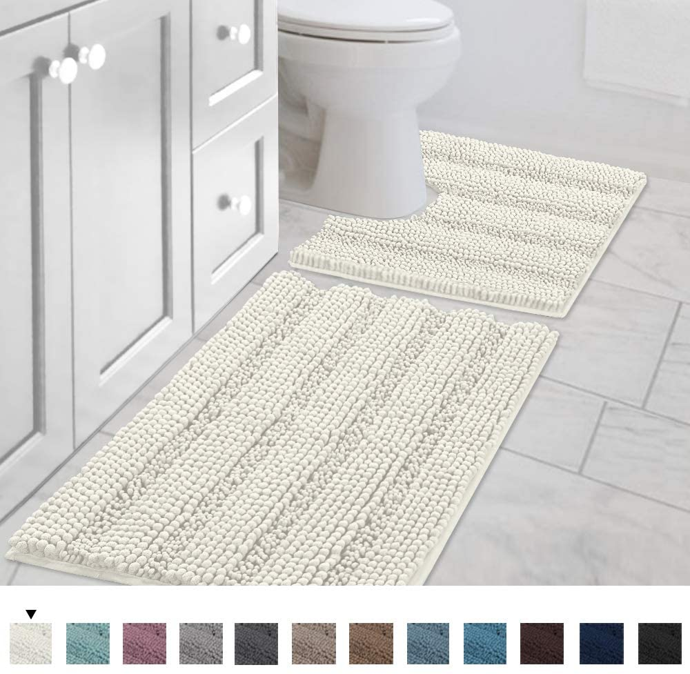 H.VERSAILTEX Bath Rug Set 2 Piece for Bathroom Non Slip Thick Chenille Bath Rugs Contour and Rectangle, Water Absorbent Fluffy Shag Mats Machine Washable (20