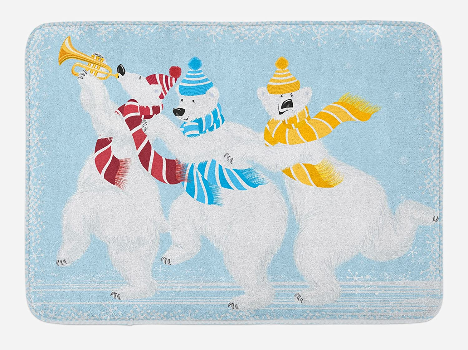 Ambesonne Bear Bath Mat, Christmas Time at North Pole Theme 3 Funny Characters with Scarves and Trumpet, Plush Bathroom Decor Mat with Non Slip Backing, 29.5