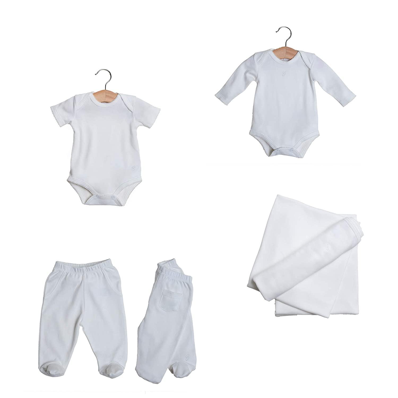 Babytom - 4 Pieces Elegant Newborn Organic Baby Girl Gift Set. Organic Pima Cotton Newborn. Double-Layer Blanket + Footie Pants + Bodysuit Long & Short Sleeves. Baby Pink. Size 3-6 Months.