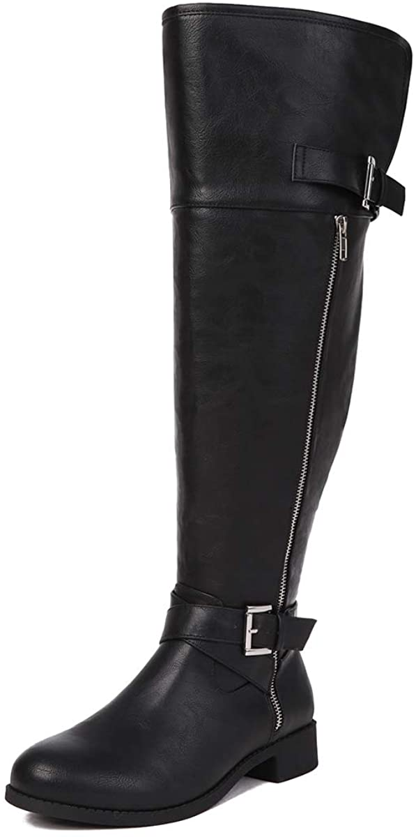 Sivellya Women's Quilted Side Zip Knee High Boots Wide Calf Knee High Boot Black Size 6 to 13