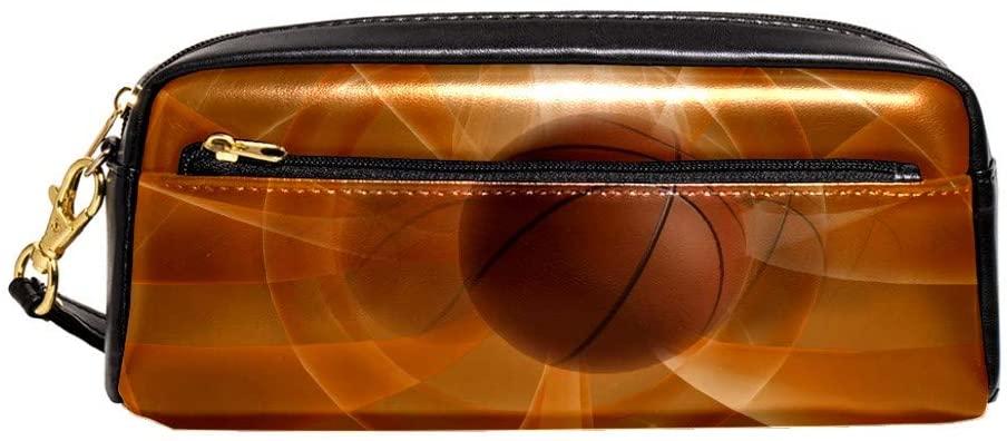 Sport Basketball Zipper Pencil Case PU Leather Pen Box Cosmetic Makeup Bag Purse Pouch Organizer School Office Supplies for Girls Boys Unisex
