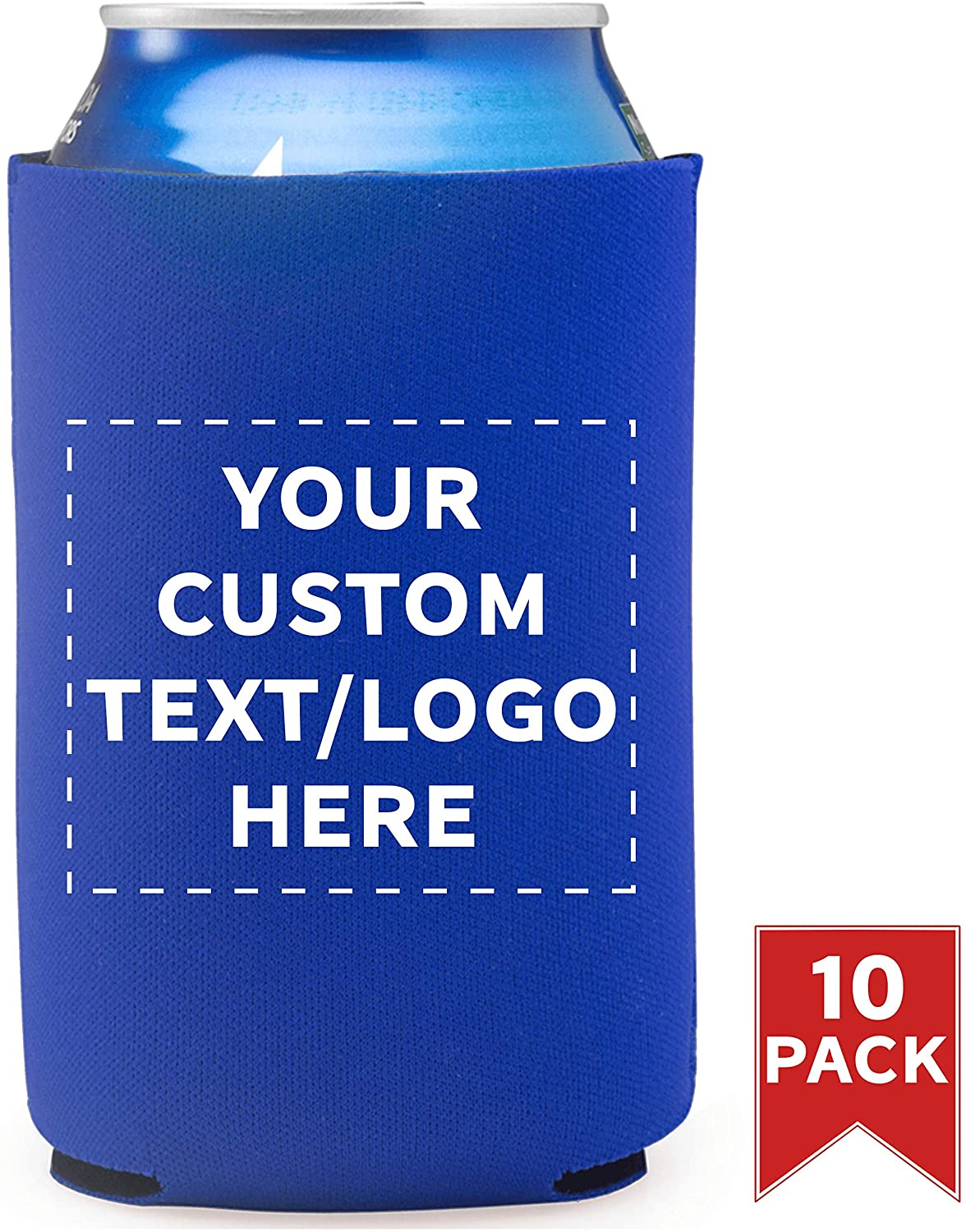 Neoprene Collapsible Can Coolers - Holds 12. oz Cans - 10 pack - Customizable Text, Logo - Great for Weddings, Bachelor Bachelorette Parties, Family Party, Anniversary, Friendsgiving, BBQ - Royal Blue