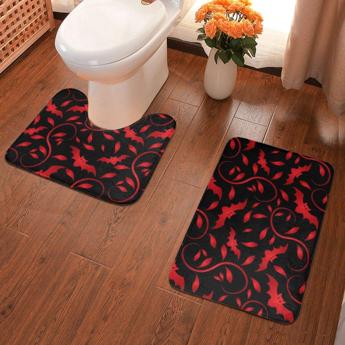 NiYoung Bathroom Rugs Slip-Resistant Extra Soft Highly Absorbent Floor Mats (Set of 2 Piece, Cool Blood Bet Red Paisley)