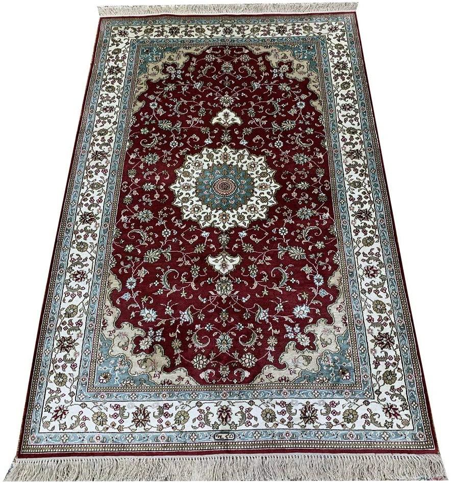 Yilong Carpet 3x5ft Silk Handmade Carpets Vintage Handwoven Persian Qum Rug Pad Living Room Rug Bedroom Rug Dinning Room Rug (Red)