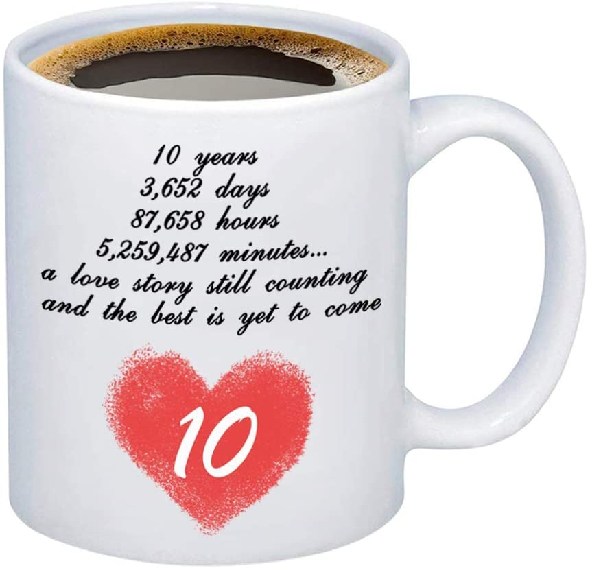 HOLLP Anniversary Coffee Mugs Wedding 10 Years Anniversary Mug Couple Lovers Coffee Cups Anniversary Mug for Boyfriend Husband (10 Years)