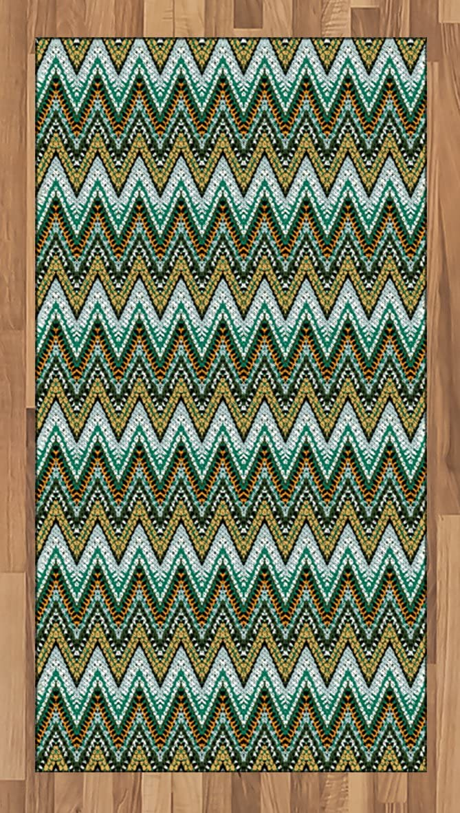 Ambesonne Ethnic Area Rug, Striped Boho Pattern Motifs Zigzag Lines Brushstrokes and Splatters of Paint, Flat Woven Accent Rug for Living Room Bedroom Dining Room, 2.6' x 5', Multicolor