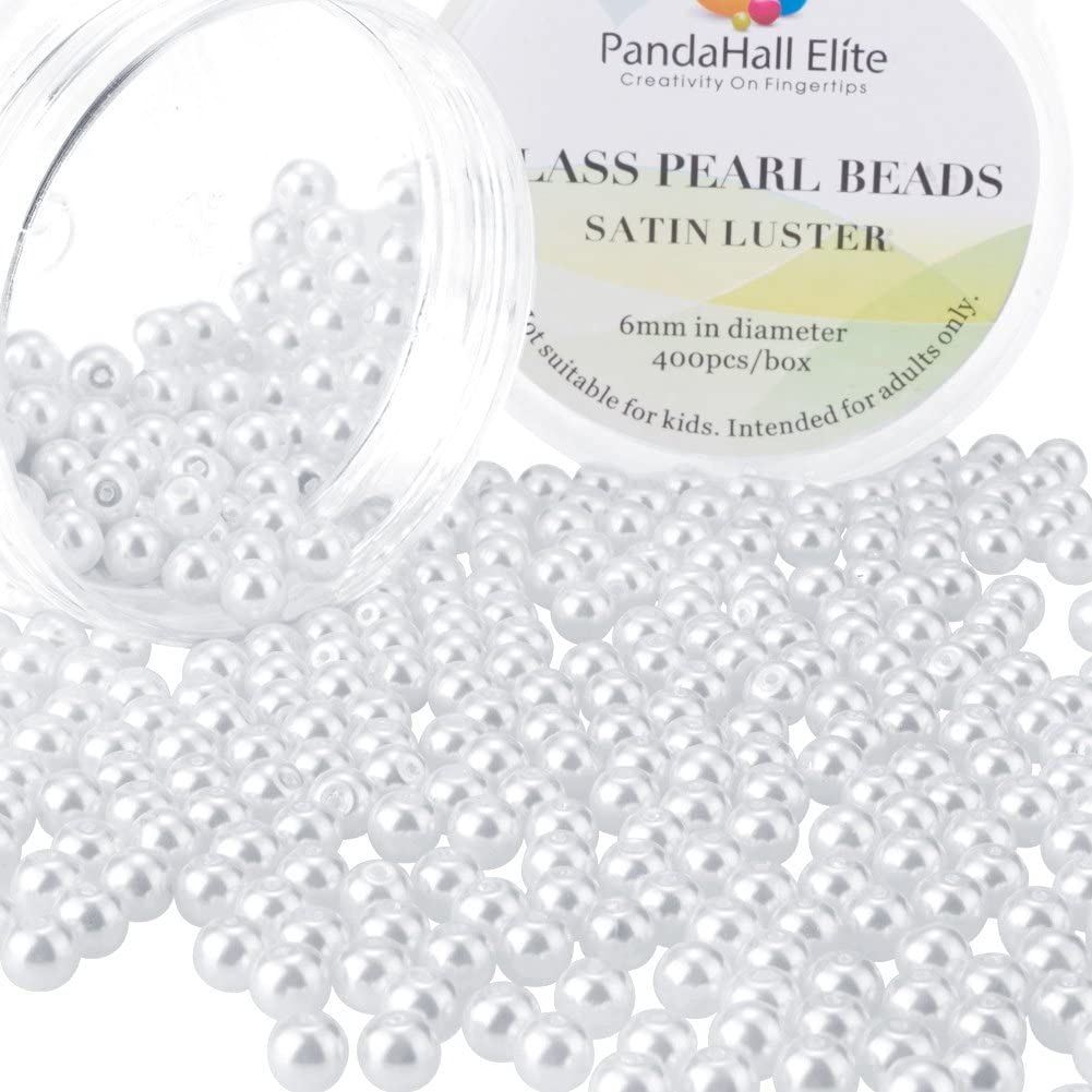 PandaHall Elite 6mm About 400Pcs Tiny Satin Luster Glass Pearl Round Beads Assortment Lot for Jewelry Making Round Box Kit White