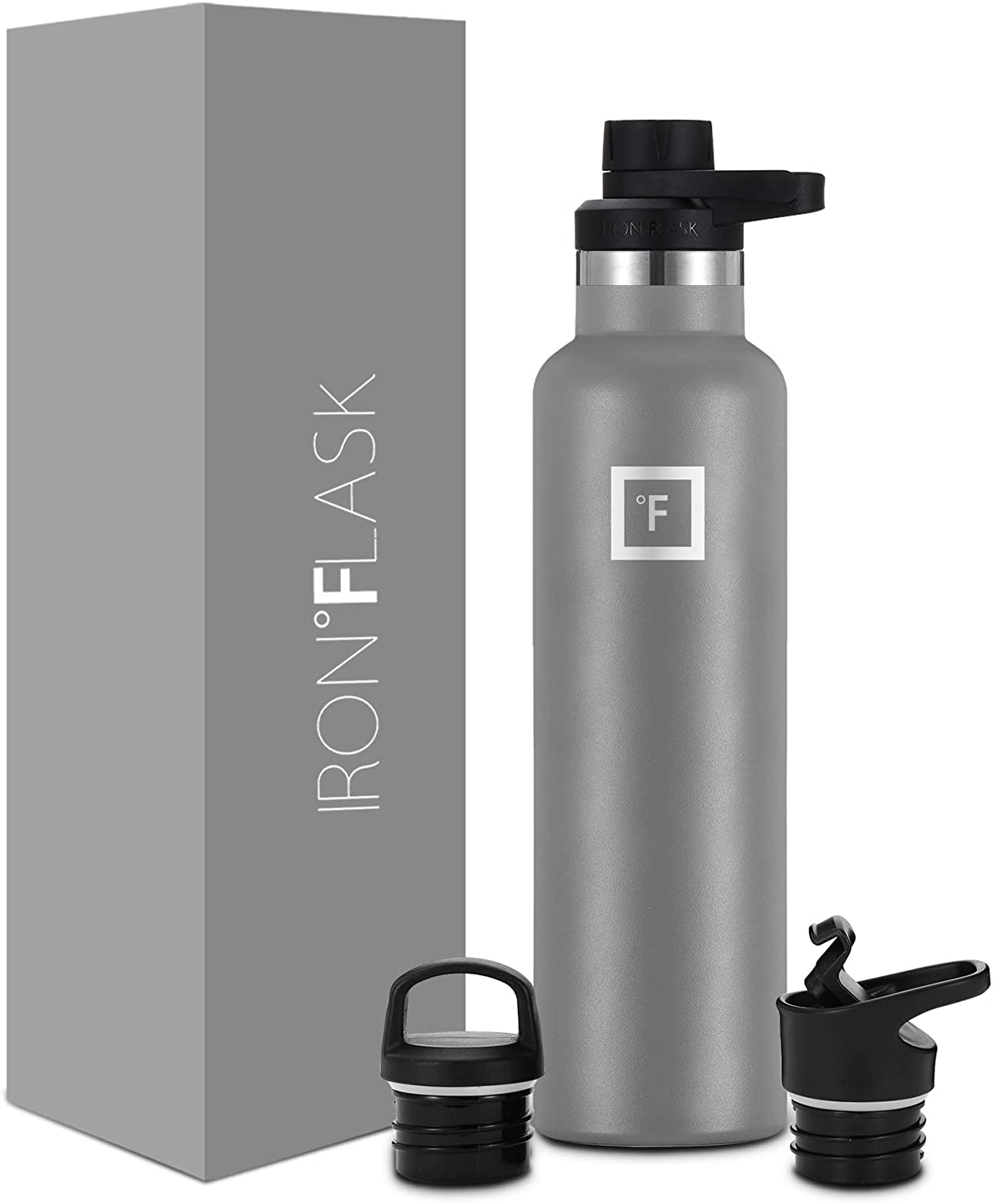 Iron Flask Narrow Mouth Sports Water Bottle - 64 Oz, 3 Lids (Spout Lid), Vacuum Insulated Stainless Steel, Hot Cold, Modern Double Walled, Simple Thermo Mug, Standard Hydro Metal Canteen graphite