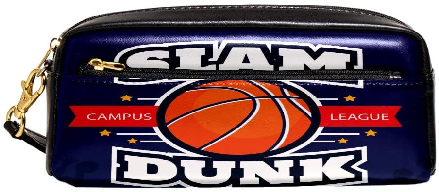 Basketball Slam Pencil Case Box Portable Big Capacity Pen Organizer Pouch Cosmetic Makeup Bag Multifunction Storage Bag PU Leather with Zipper School Office for Kids Teens Girls Women
