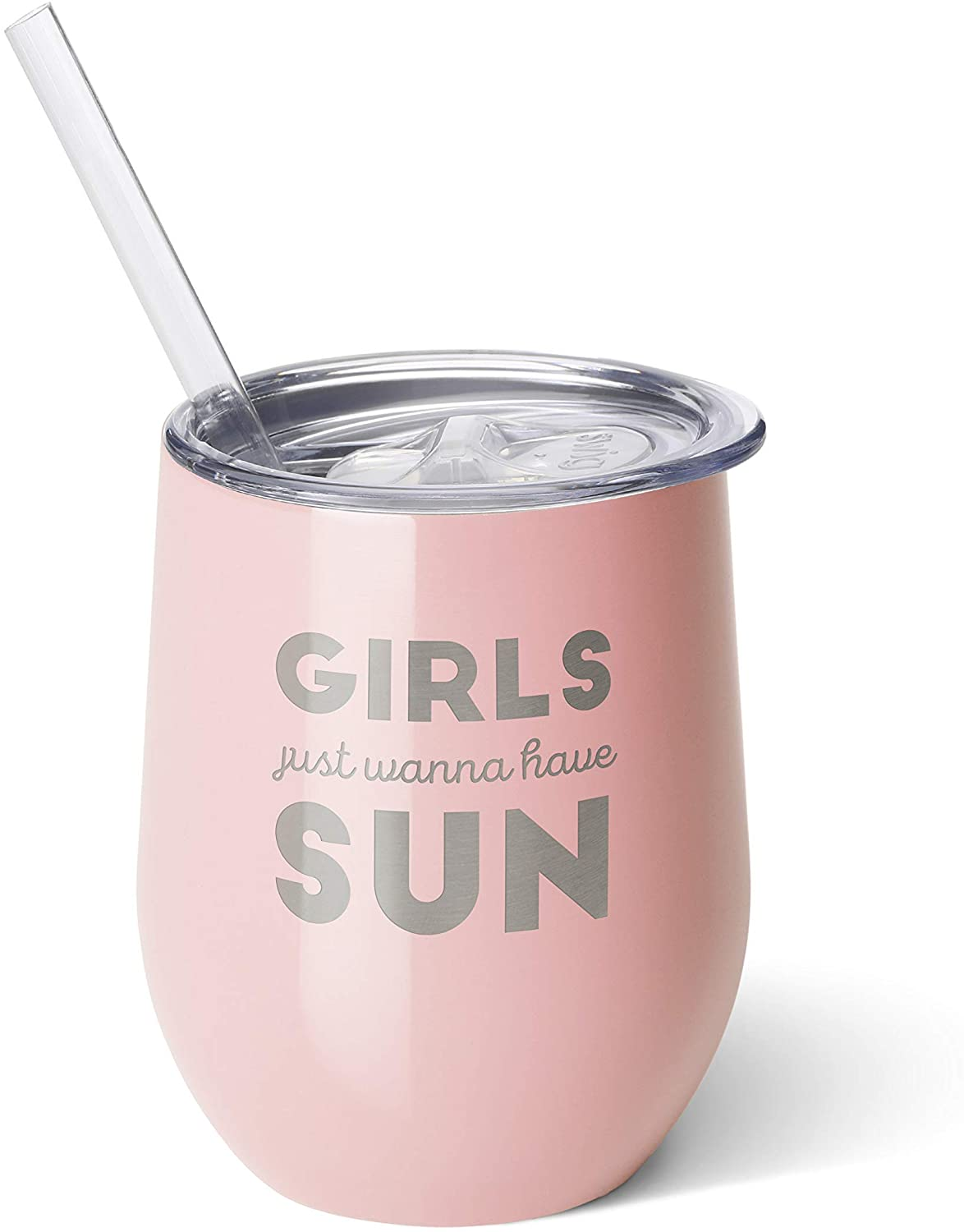 Swig Life Stainless Steel Insulated 12oz Stemless Wine Cup with Slider Lid and Straw - Girls Just Want to Have Sun (Pink)