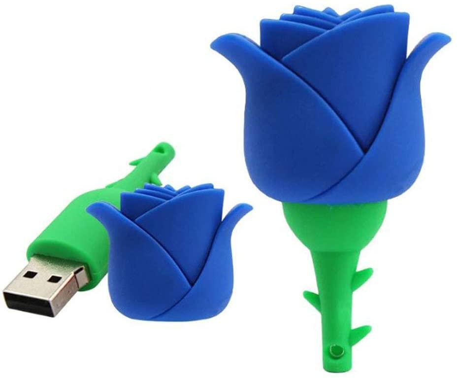 2.0 Blue Rose Flower 16GB USB Flash Thumb Drive Storage Device Cute Novelty Memory Stick U Disk Cartoon