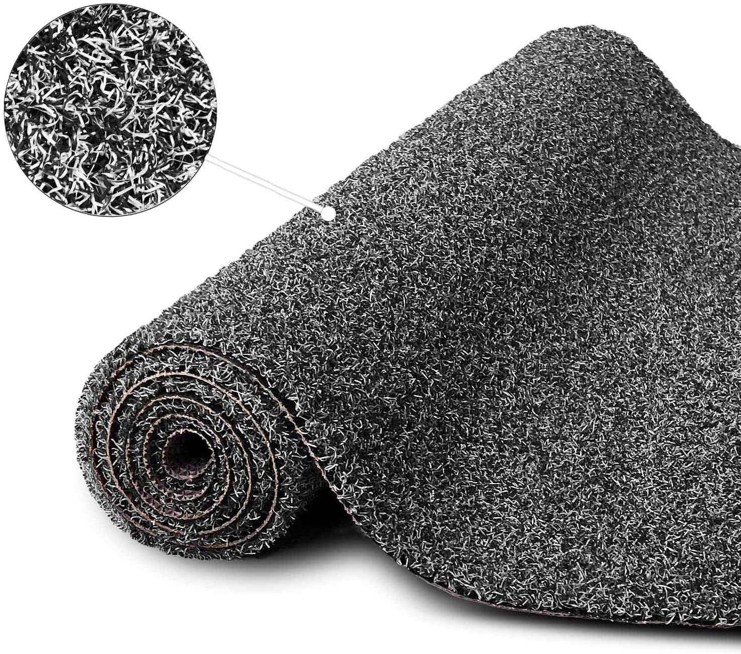 TOPKULL Outdoor Doormat with Heavy-Duty PVC Backing,Home Front Doormat Non-Slip Waterproof,Low Profile Outdoor Mat for Entry,Easy Clean(23X16, Black)