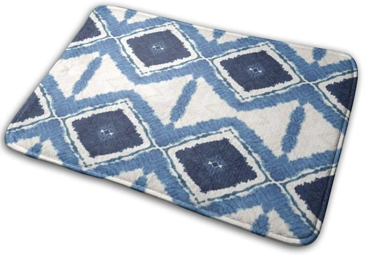 Indigo Batik Rhombuses Pattern Bath Mat 15.8