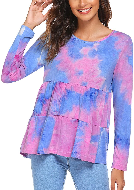 Beyove Women's Tie Dye Babydoll Peplum Top High Low Hem Pullover Long Sleeve Crew Neck Ruffle Dress Home Shirt S-XXL