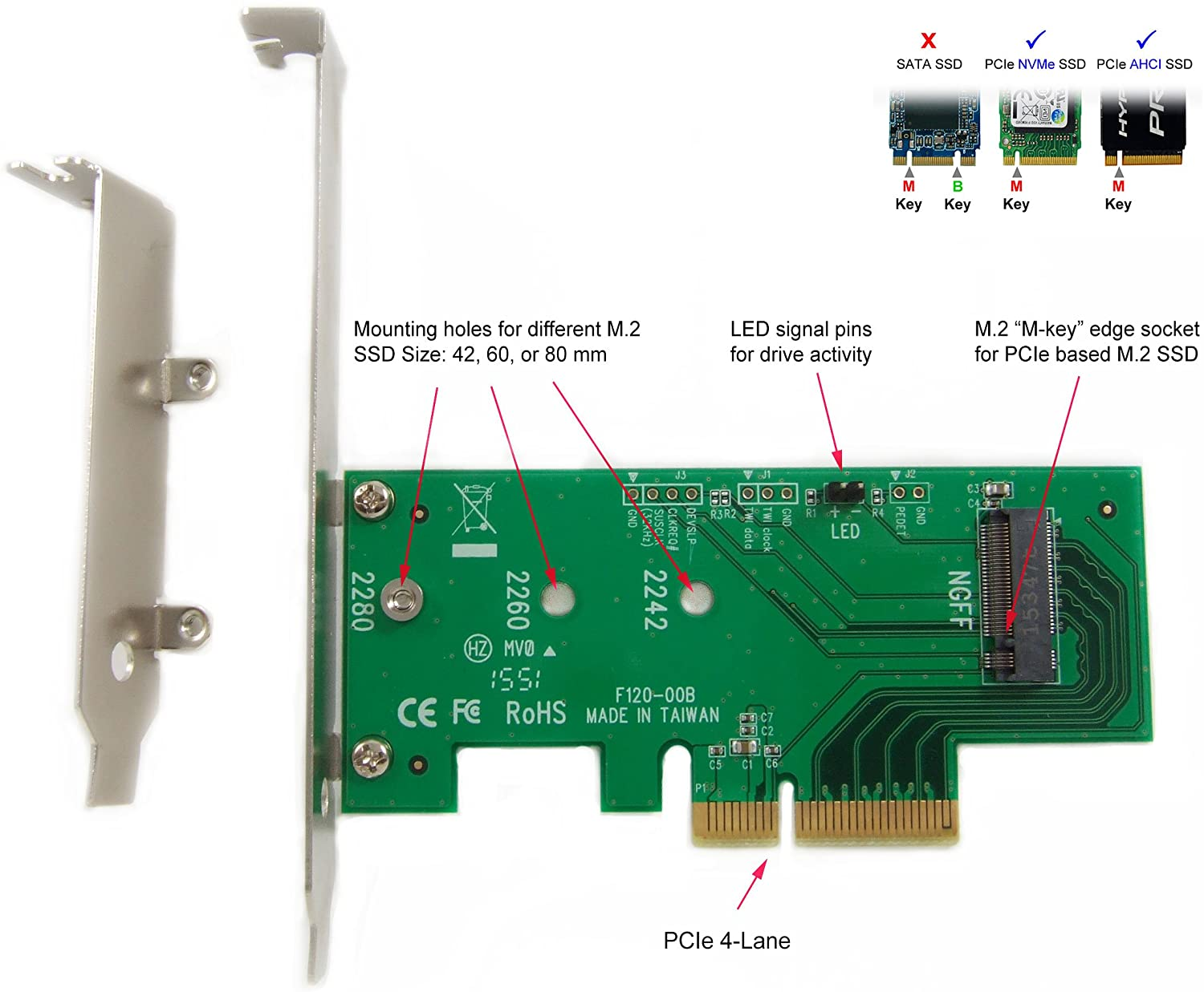 Ableconn PEXM2-SSD M.2 NGFF PCIe SSD to PCI Express x4 Host Adapter Card - Support M.2 PCIe (NVMe or AHCI) Type 2280, 2260, 2242