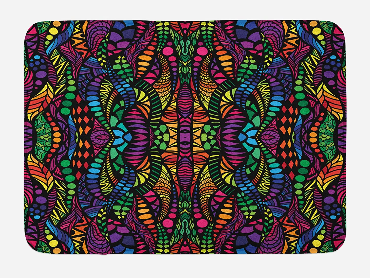 Lunarable Abstract Bath Mat, Trippy Contrast Tones Featured Fractal Forms Creative Colorful Effects Graphic Art, Plush Bathroom Decor Mat with Non Slip Backing, 29.5