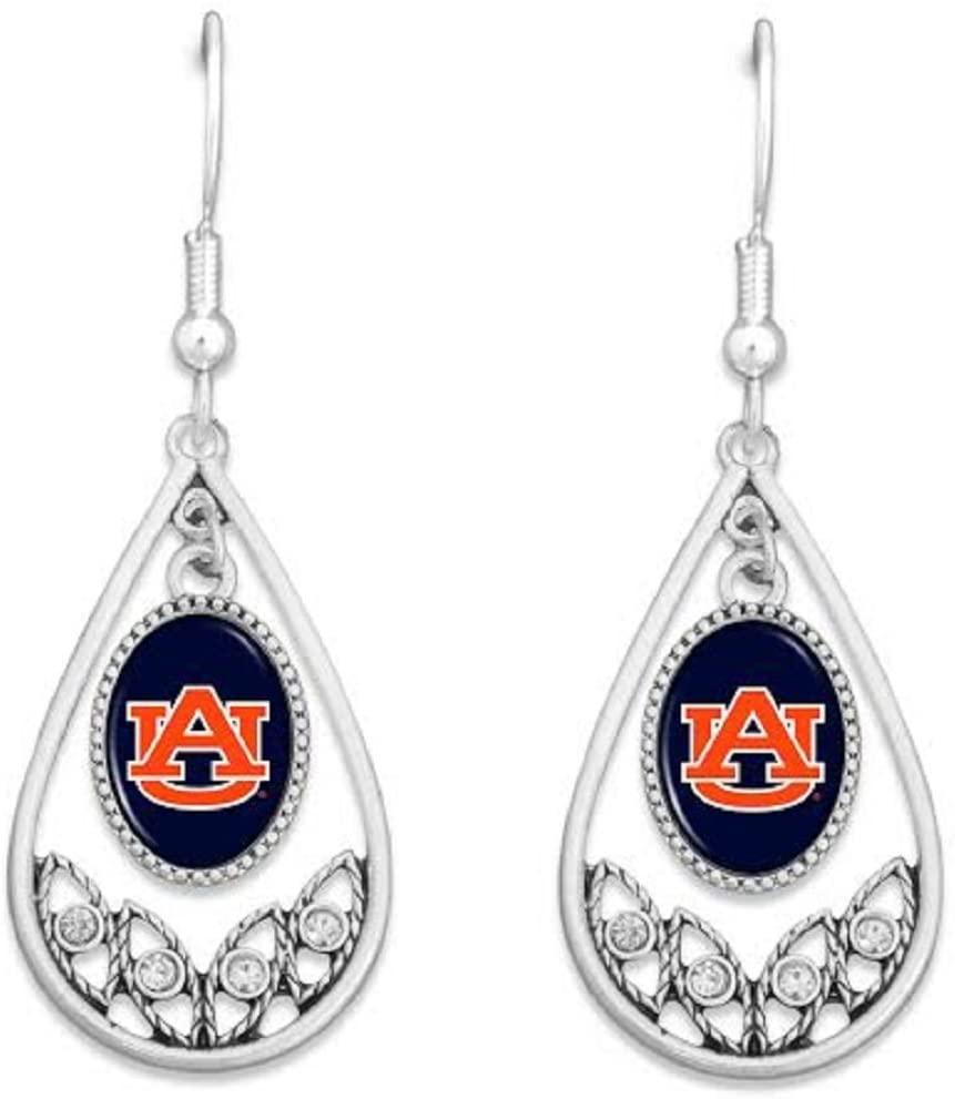 FTH Auburn Tigers Logo Silver Tone Tear Drop Hoop Earrings with Clear Rhinestones