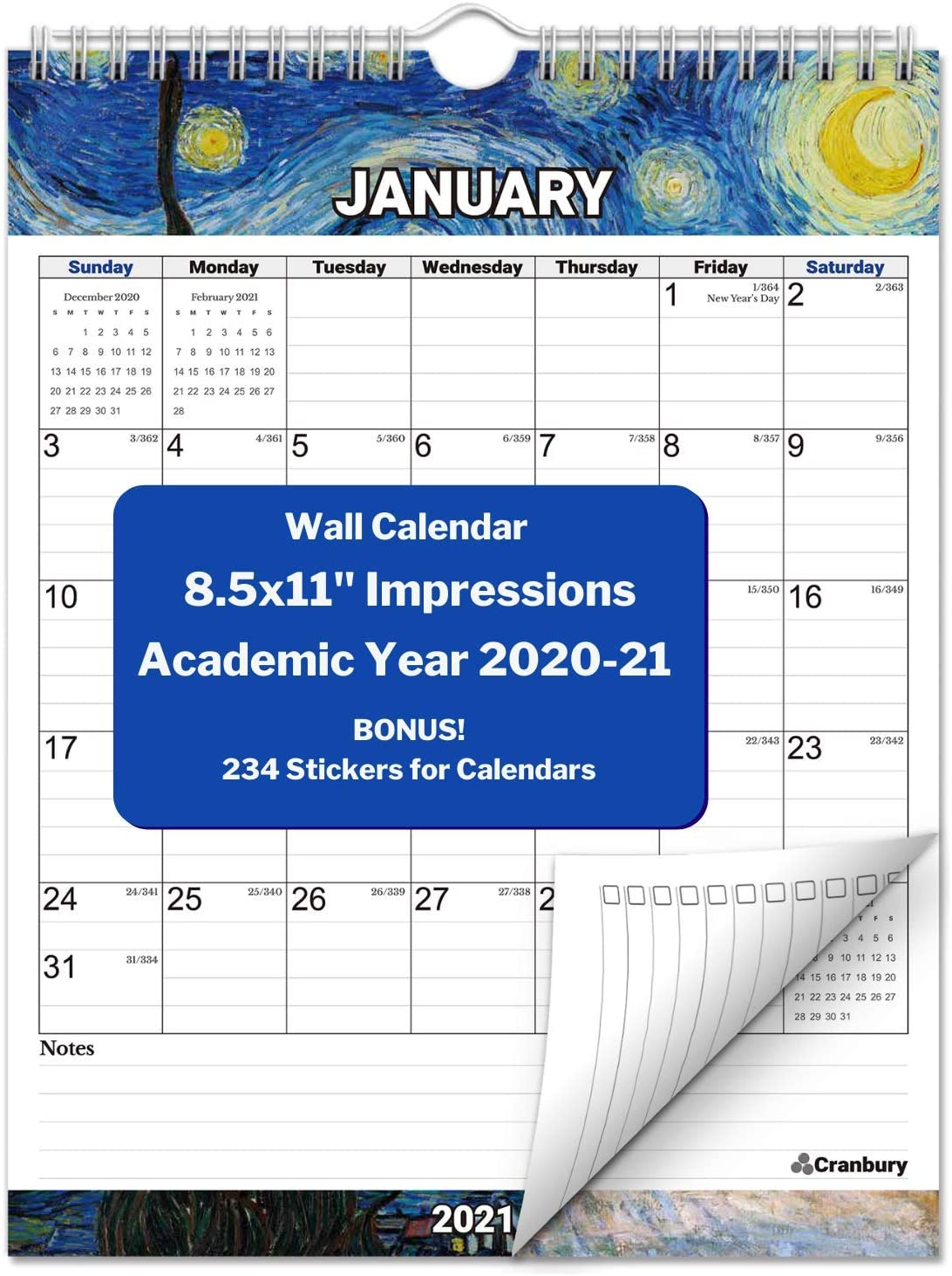 CRANBURY Small Vertical Wall Calendar 2020-2021 (Impressions), Hanging Monthly Wall Calendar, 8.5x11 Inches, Use Now to December 2021, School Year Academic Calendar, Bonus Stickers Included