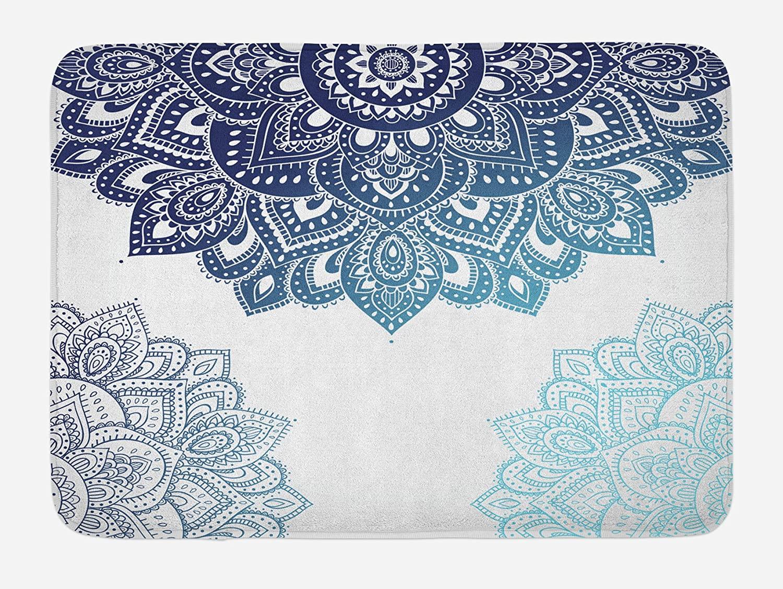 Ambesonne Flora Bath Mat, South Mandala Design with Vibrant Color Ornamental Illustration, Plush Bathroom Decor Mat with Non Slip Backing, 29.5