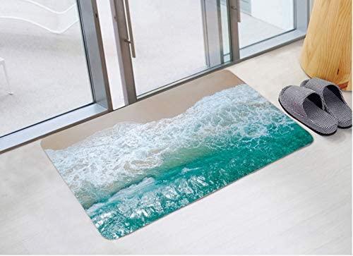 JINYAO Beach View Print Foam Bathroom Carpet and Door Mat Non-Slip Water Absorbent Flannel Bathroom Carpet Bed Carpet 24 X 16 inches