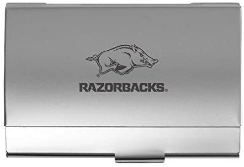LXG, Inc. University of Arkansas - Two-Tone Business Card Holder - Silver