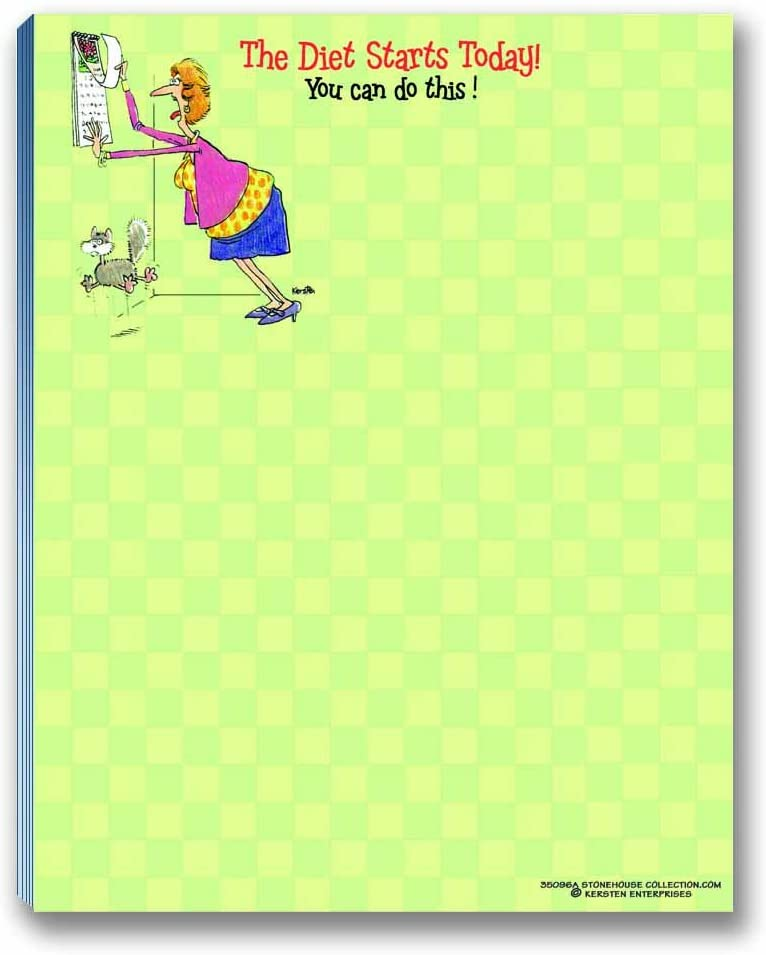 Funny Note Pad - The Diet Starts Today! - Great Funny Gift Idea
