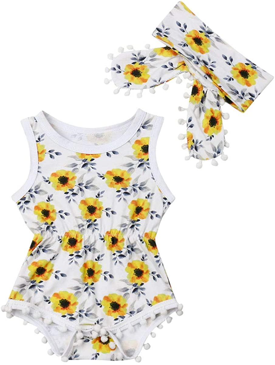 Floral Sunflowers Sleeveless Romper Bodysuit Tassel Bodysuit with Headband Summer Clothes Outfits Set