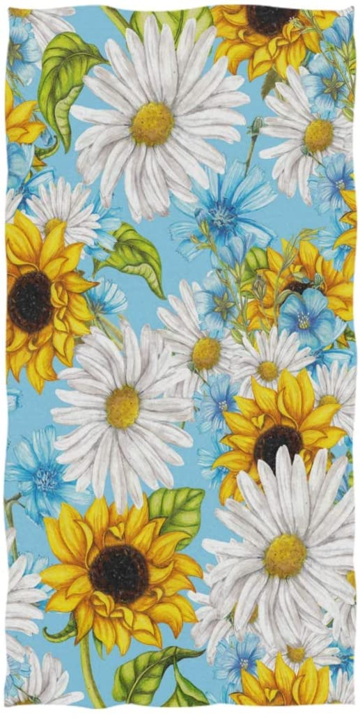 Naanle Chic Beautiful Daisy Flower Sunflowers Pattern Soft Guest Hand Towel for Bathroom, Hotel, Gym and Spa (16 x 30 Inches)