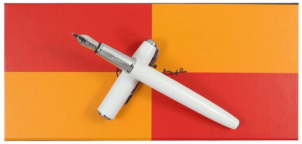 SIPLIV 916 Picasso Fountain Pen with Original Gift Pen Box Set Collection Signature Gift Pen - White, Medium Nib