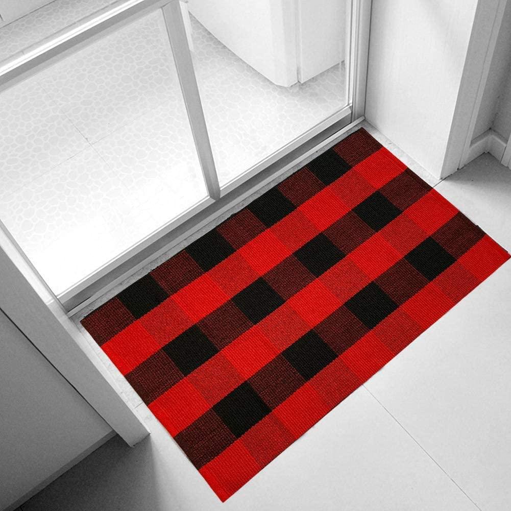 Ukeler Buffalo Check Rug 2'×3'- Machine Washable Buffalo Plaid Outdoor Doormat, Buffalo Plaid Rug for Front Porch/Kitchen/Sink/Bathroom