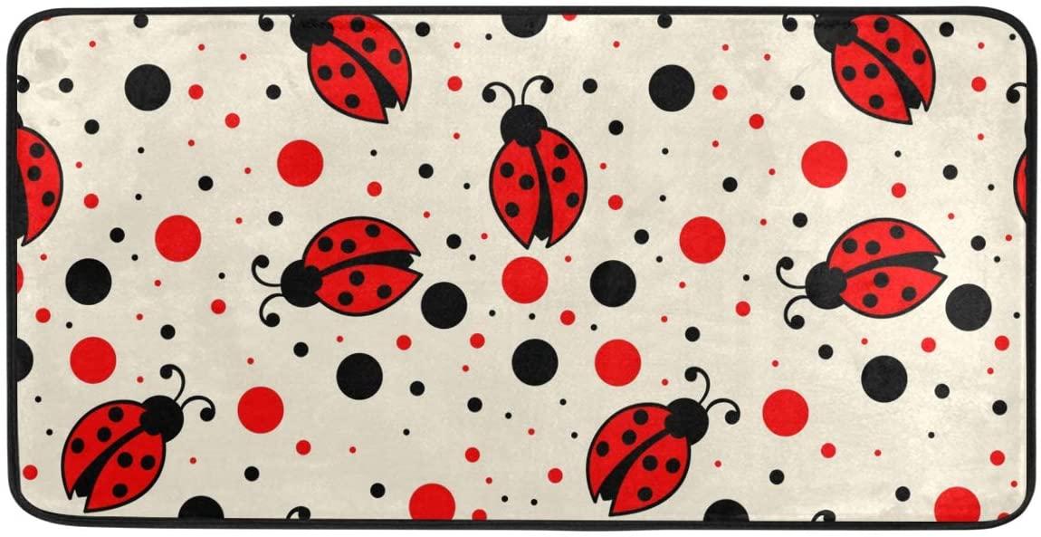 Red Black Polka Dots Ladybugs Kitchen Mat Rugs Cushioned Chef Soft Non-Slip Floor Mats Washable Doormat Bathroom Runner Area Rug Carpet