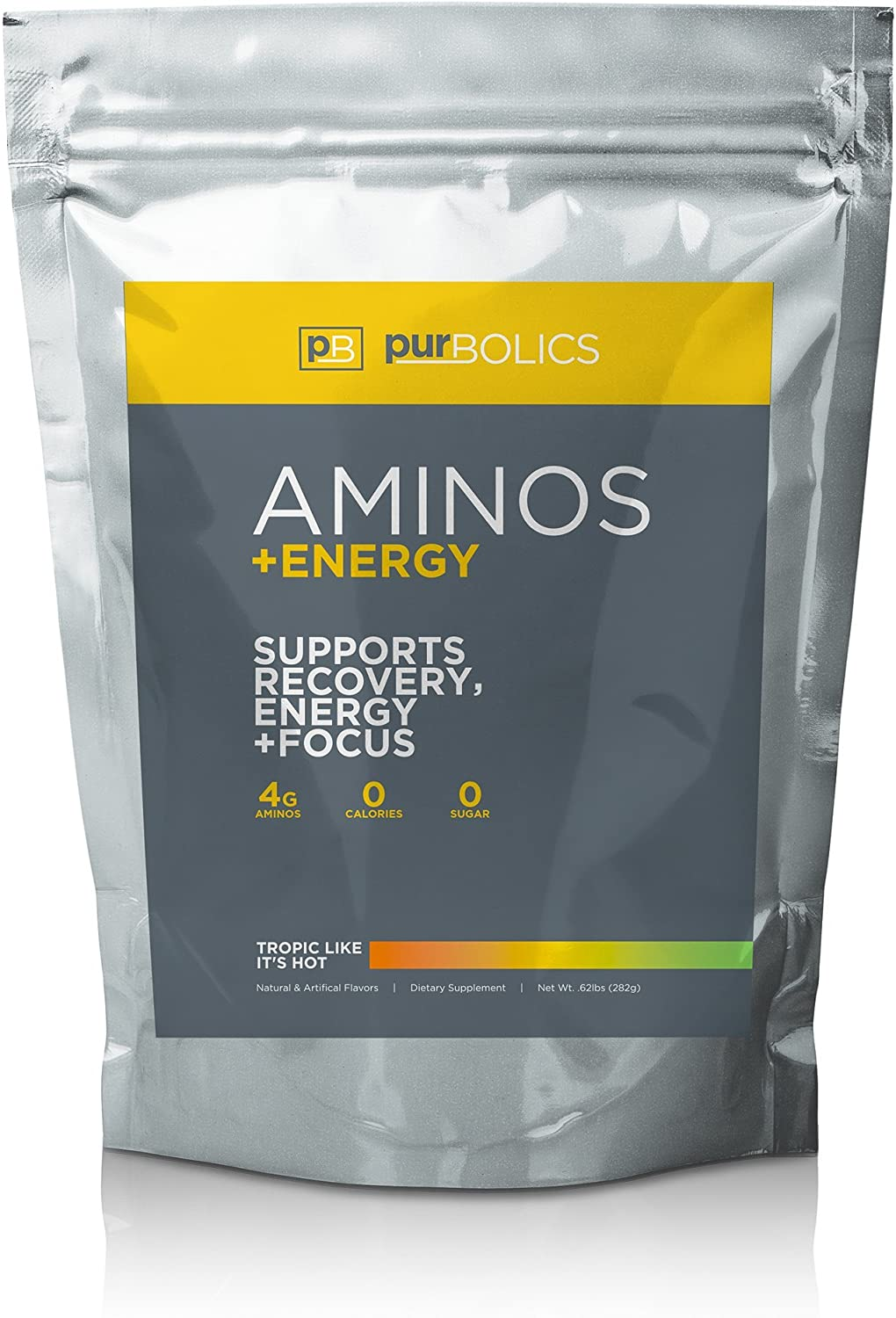 Purbolics Aminos + Energy | Supports Recovery, Energy & Focus | 95mg of Caffeine, 0 Calories & 60 Servings (Tropic Like It's Hot)