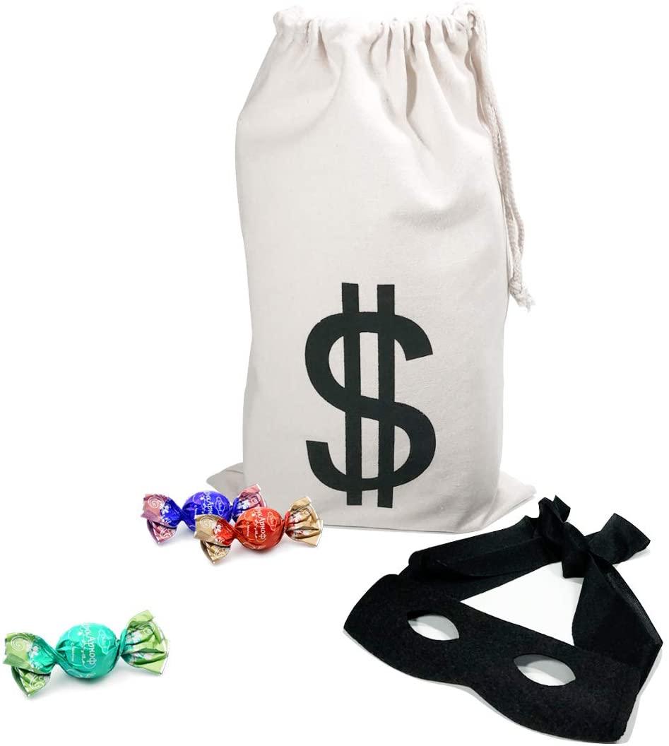 PAUBOLI Robber Costume Black Eye Mask+ Canvas Drawstring Bag Dollar Sign Canvas Bag Halloween (11 x 17 inches)