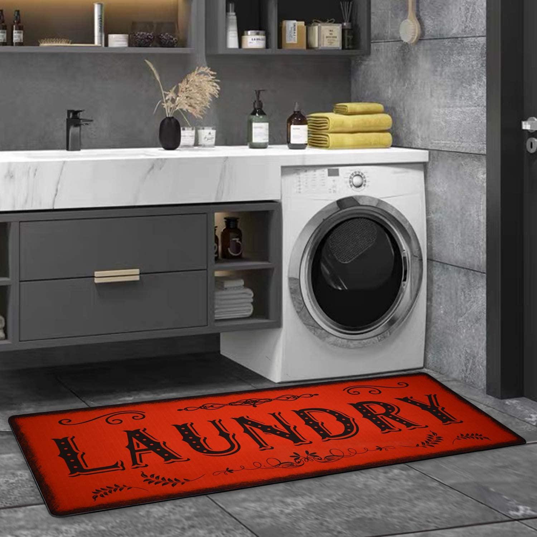 Laundry Rug Red Floormat Runner Rug Says Laundry Rug Vintage Laundry Room Floor Mat Non Skid Laundry Runner Rug Farmhouse Laundry Room Rug 2x4 for Washroom/Entry