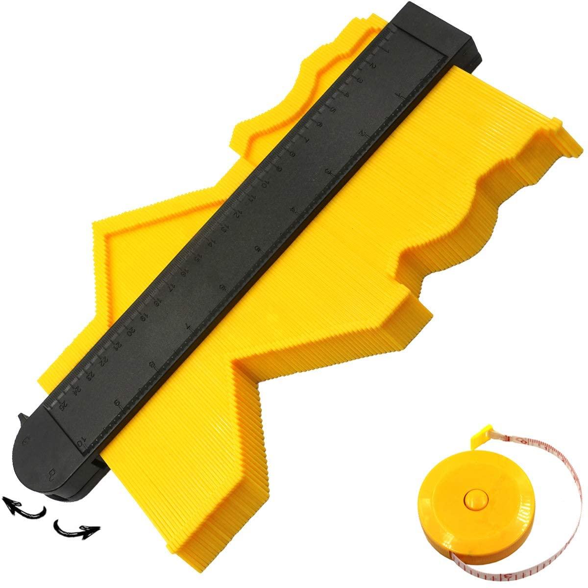 Contour Gauge with Lock, 10 Inch Contour Gauge with Lock Precisely Copy Irregular Shapes, Contour Gauge Shape Duplicator Edge Shaping Measure Ruler