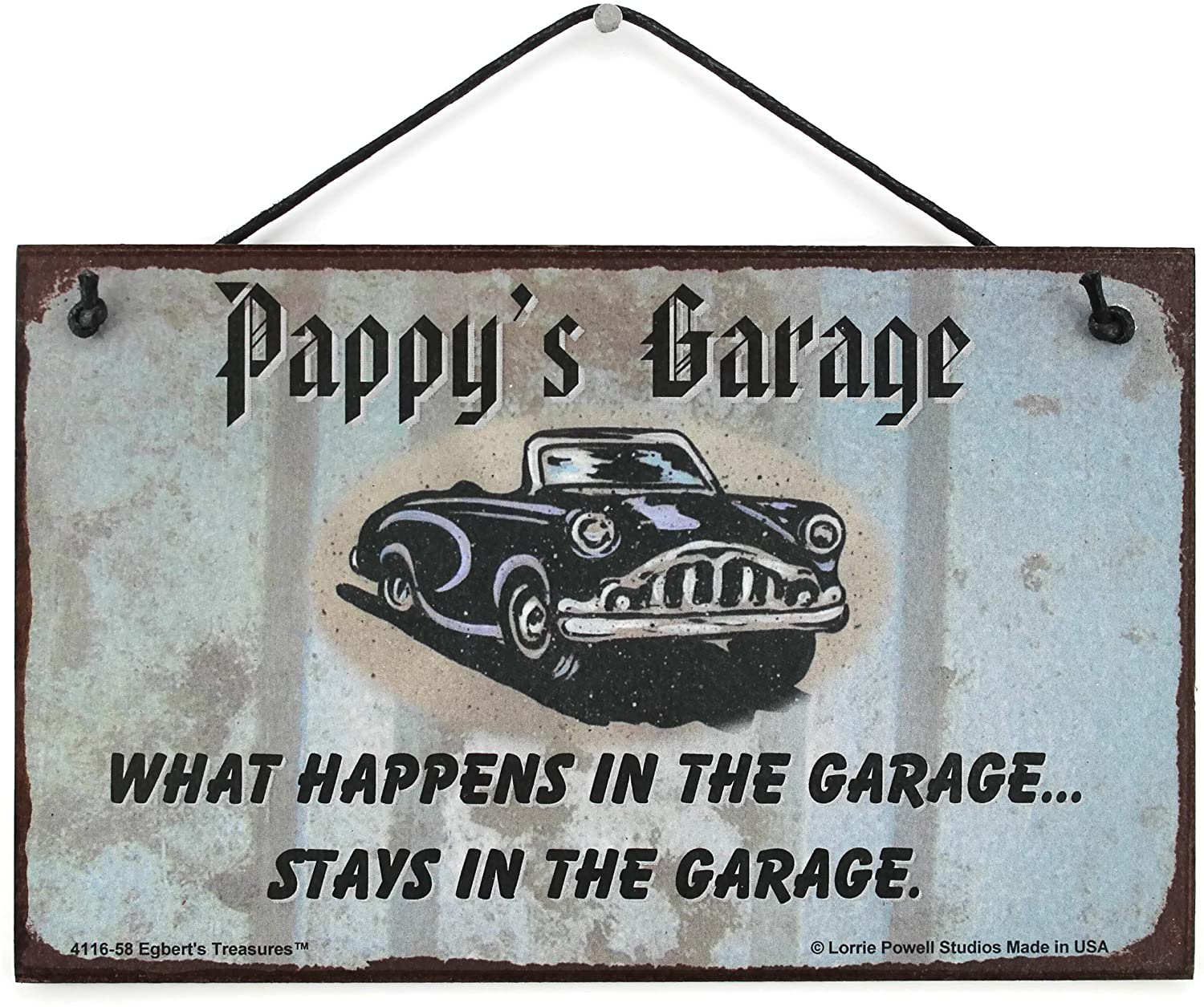 Egbert's Treasures 5x8 Sign with Classic Car Saying Pappy's Garage What Happens in The Garage. Stays in The Garage. Decorative Fun Universal Household Signs from