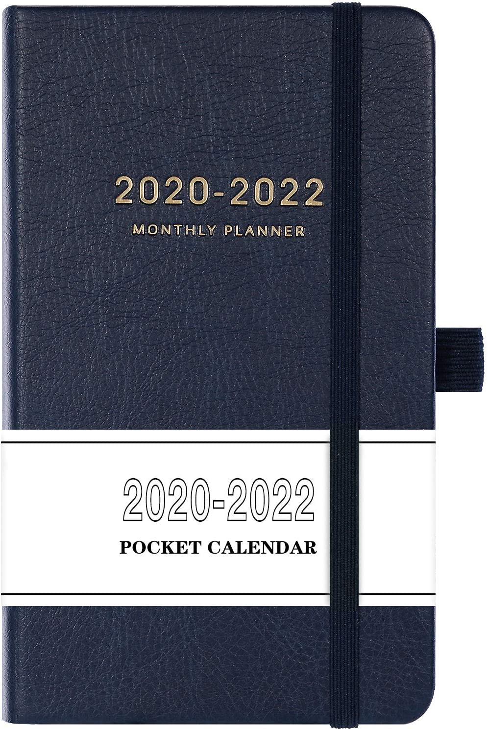 2020-2022 Pocket Calendar - Monthly Pocket Planner (36-Month) with 63 Notes Pages, 3.8 x 6.3, 3 Year Monthly Planner with Contacts, Holidays and Pen Holder, Back Pocket, Gift Box - Navy Blue
