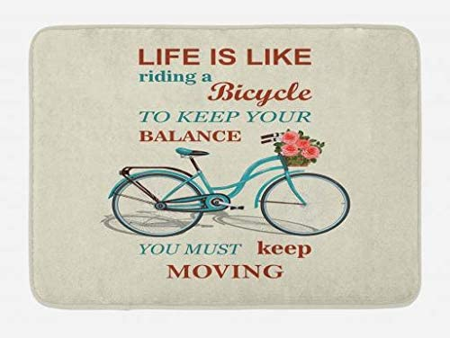 Lunarable Einstein Bath Mat, Life is Like a Bicycle Words Motivational Saying with Retro Design, Plush Bathroom Decor Mat with Non Slip Backing, 29.5