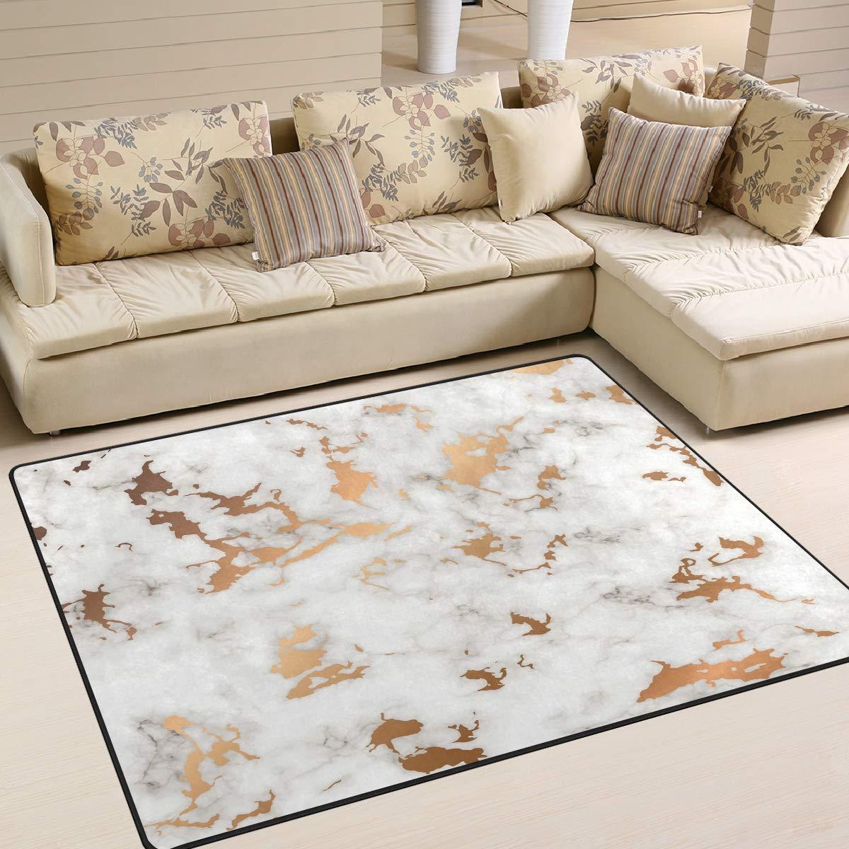 ALAZA Marble Golden Splatter Spots Black and White Indoor Modern Area Rug 4' x 5', Dining Room Home Bedroom Carpet Floor Mat Nursery Rug Room Mat
