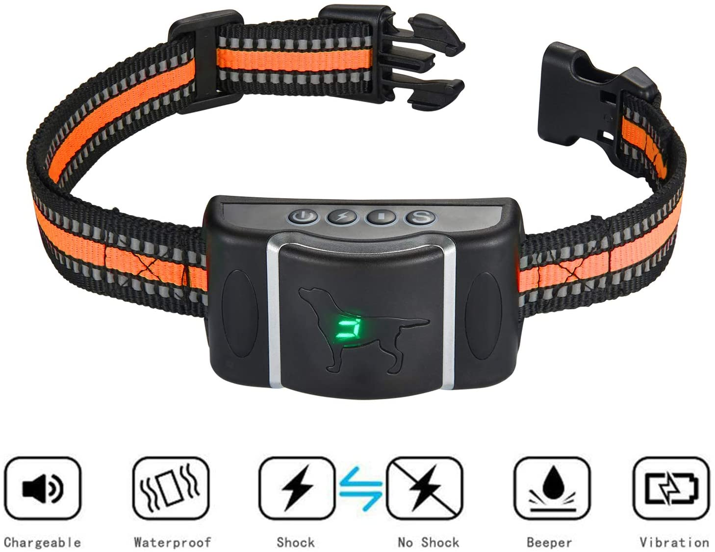 Bark Collar for Small Medium Large Dogs Breeds on Anti-Barking Device, Dog No Barking Collar Control-Rechargeable and Waterproof with Beep Vibration Humane Shock Modes,Orange Reflective Nylon Collar