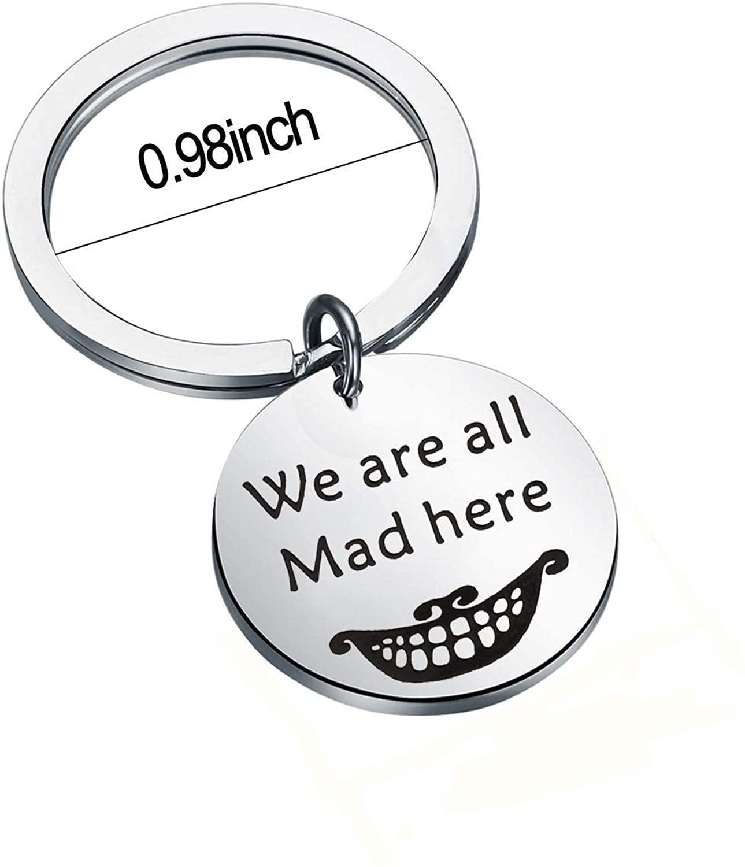 BNQL Alice in Wonderland Charm Bracelet Keychain Mad Hatter Inspired Adjustable Bracelet