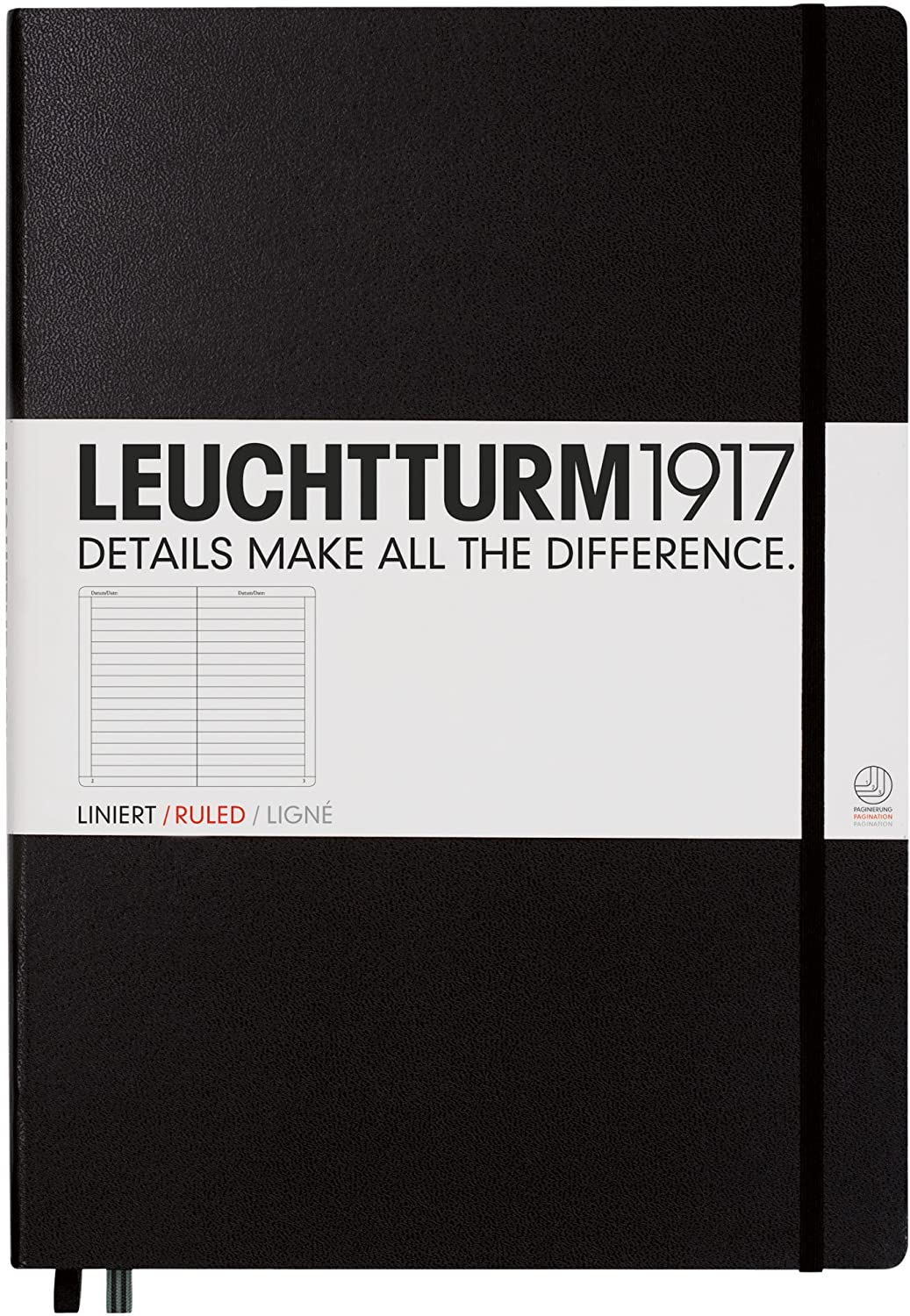 Leuchtturm1917 Master A4 Plus Ruled Hardcover Notebook- 233 Numbered Pages, Black