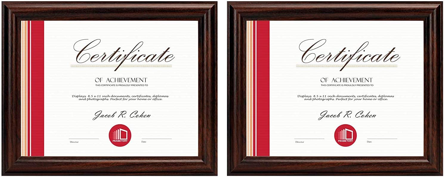 Frametory, Two 8.5x11 Frame Set - Walnut Color, Curved Bevel Design - Made to Display 8.5x11 Certificate or Picture - Real Glass (8.5x11, Set of 2, Walnut)