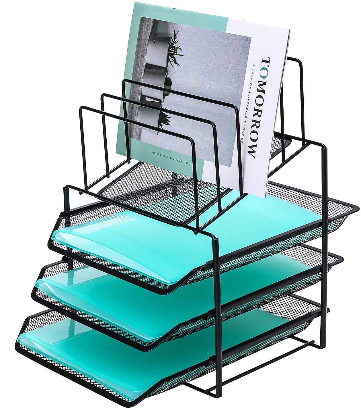 Delifox Mesh Desk Organizer Metal File Holder Mail Sorter with 5 Racks and 3 Trays