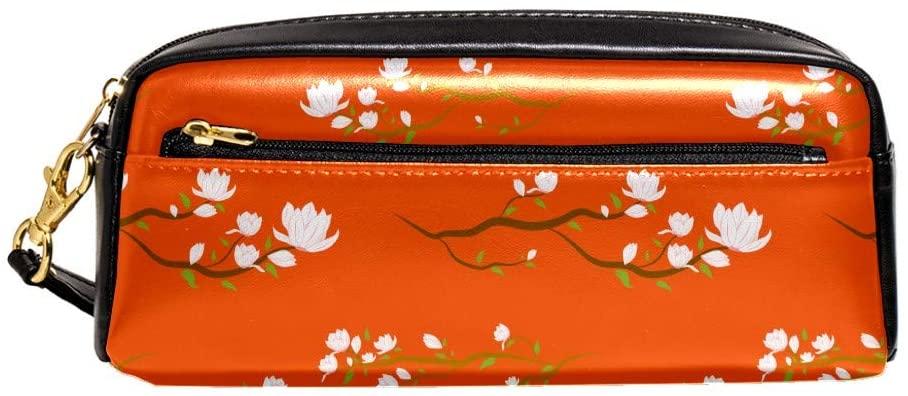 Seamless Flora Zipper Pencil Case PU Leather Pen Box Cosmetic Makeup Bag Purse Pouch Organizer School Office Supplies for Girls Boys Unisex