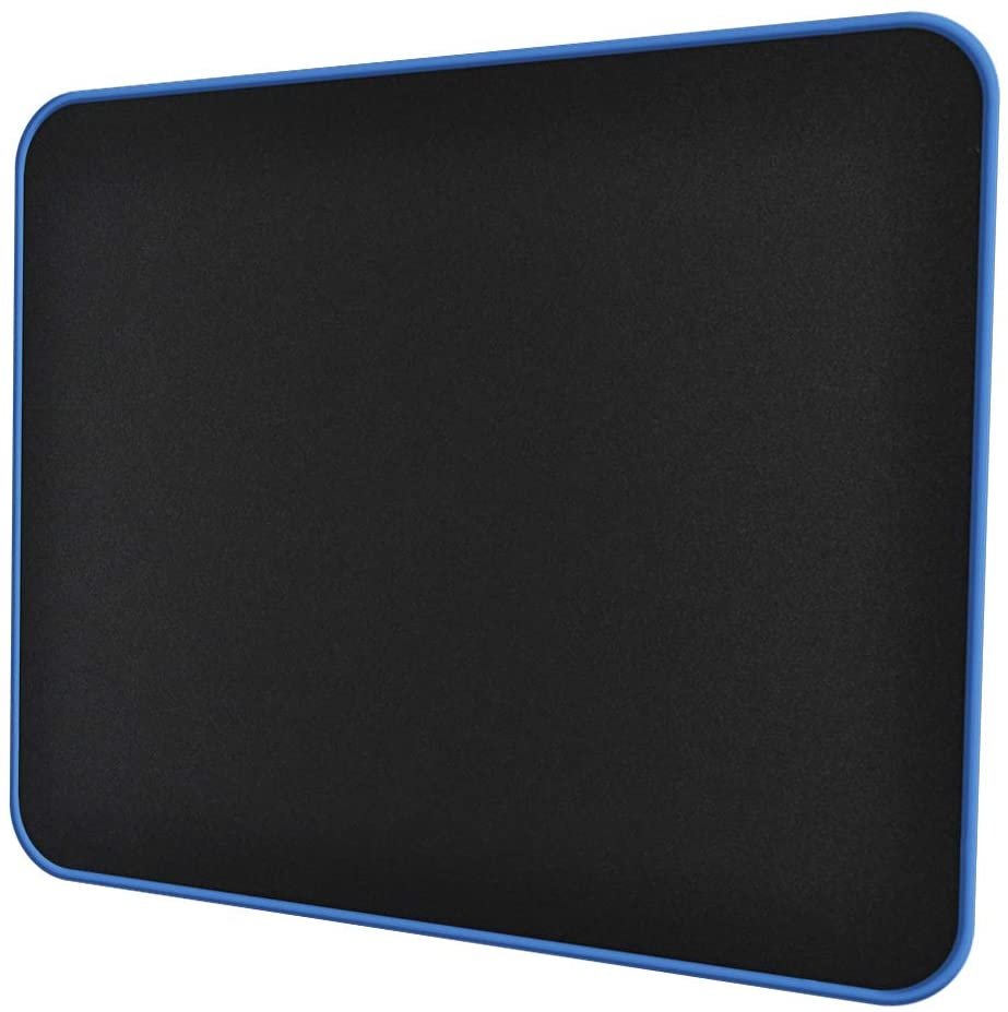 Mouse Pad Gaming with Blue Non Slip Rubber Base (12.6x10.6x0.16in), 4mm Thick Computer Mousepads Mat with Stitched Edge, Black Smooth Jersey Surface Mouse Pad for Laptop, Computer, Home&Office, Desk