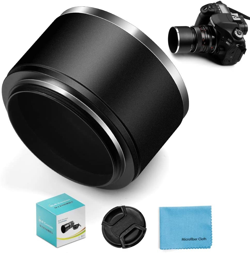 58mm Tele Metal Screw-in Lens Hood Sunshade with Centre Pinch Lens Cap for Canon Nikon Sony Pentax Olympus Fuji Sumsung Leica Standard Thread Lens +Cleaning Cloth