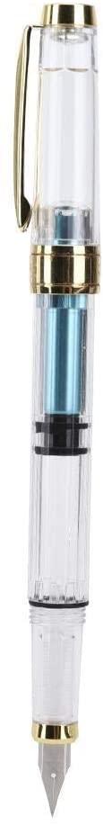 Rockyin Transparent Piston Calligraphy Fountain Pen Stainless Steel EF Nib School Supplies(Blue)