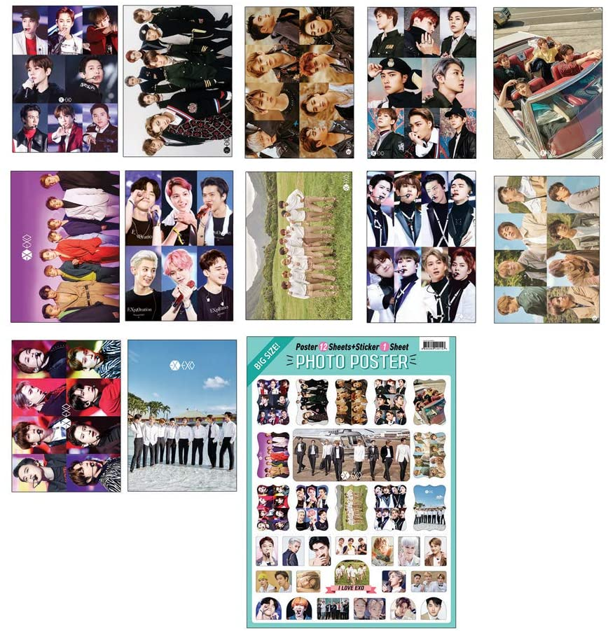 K-POP Idol Group 2020 New 12 Poster + 1 Sticker Set (All A3 Size) (EXO)