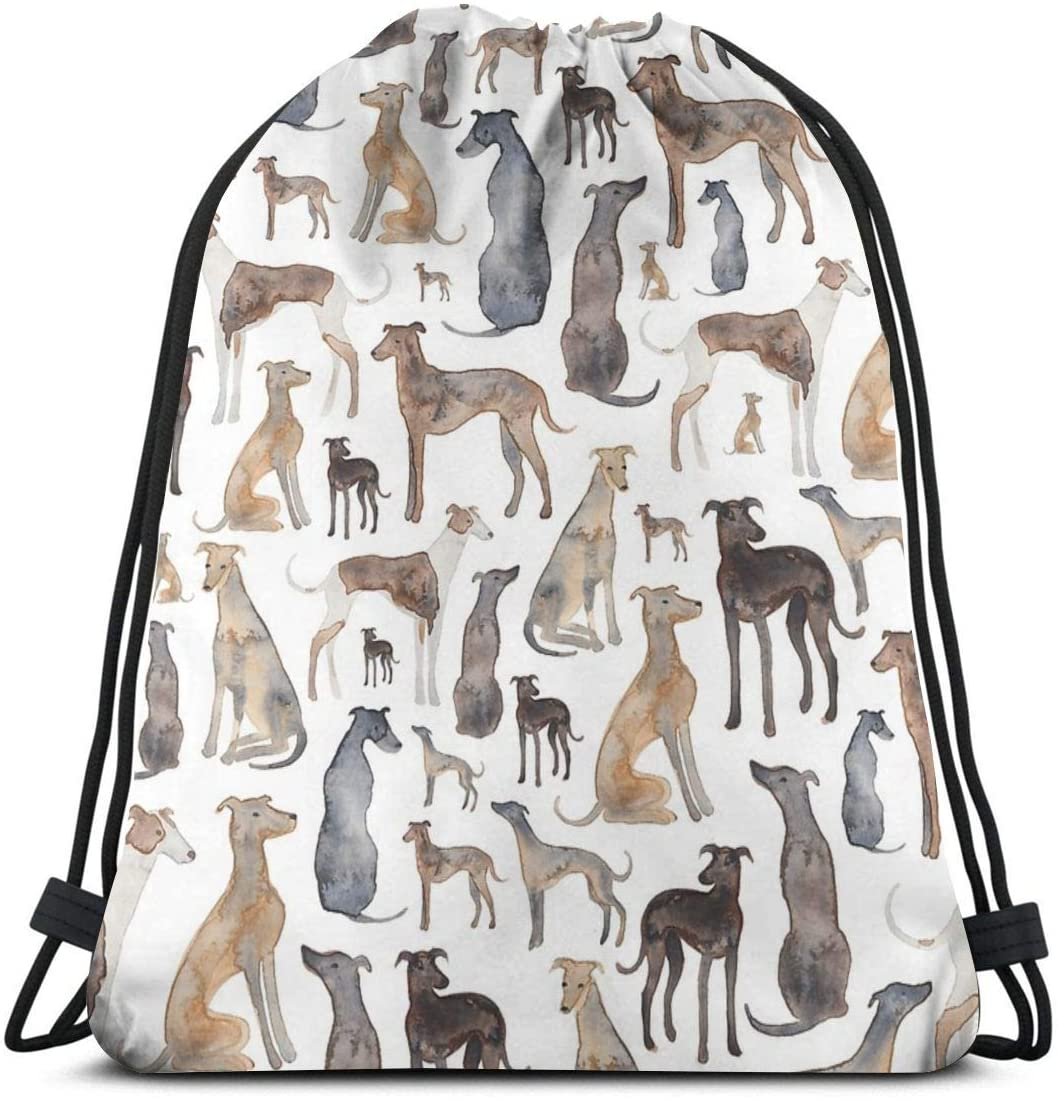 Drawstring Backpack Bag,Greyhounds Wippets And Lurcher Dogs Water Resistant Nylon Gym Bag for Beach Shopping Sport Yoga Swimming Camping Travel
